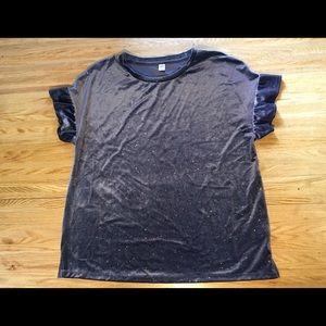 Velvet ruffle sleeve Old Navy top